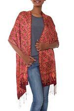 Silk Batik Shawl Red Floral Wrap Handmade 'Scarlet Lily' NOVICA Bali