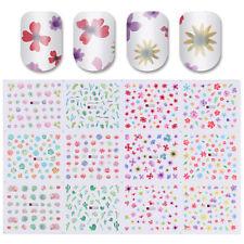 Water Decal 12 Patterns Big Sheet Flower Nail Art Transfer Sticker Manicure DIY