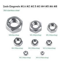 50/100Pz Dadi Esagonali M1.6/M2/M2.5/M3/M4/M5/M6/M8/M10 SS304 Viti Bulloni Dadi