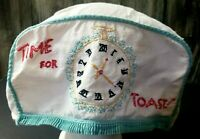 Vintage 1960's Time For Toast Toaster Cover Cozy Embroidered Clock Cloth Cover