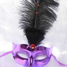 Purple Eye Feather Mask Fancy Dress Night Party Black N