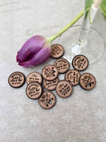 Personalised Rustic Wooden Tokens Wedding Favours, Confetti