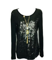 Women's Blouse Top Michael Kors Black Sequined Stretch Long Sleeve Small P