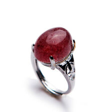 Genuine Natural Ice Strawberry Quartz Adujustable Size Woman Ring 15x12mm AAAA