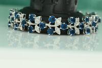 5.5ct 14K White Gold Blue Diamond Women's Bracelet Tennis Bracelet Wedding