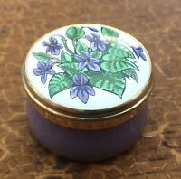 Crummles & Co, Hand Painted, Enamel, Pill Pot, Lilac Plant & Signed