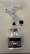 3-D Black Coffee Grinder Charm in 925 Sterling Silver by Amore La Vita