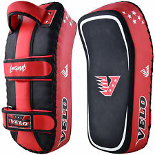 VELO Curved Arm Pad Kick Shield Leather Thai Boxing Strike MMA Focus Muay Punch