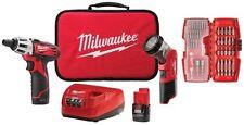Milwaukee M12 Cordless 1/4 in. Hex Screwdriver Driver Worklight Kit Bit Set