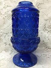 Blue Vaseline glass Fairy lamp votive candle holder uranium Cobalt daisy button