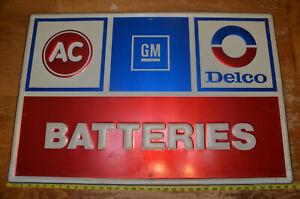 "AC DELCO GM BATTERIES Embossed Metal Sign 36"" x 24"" Vintage"