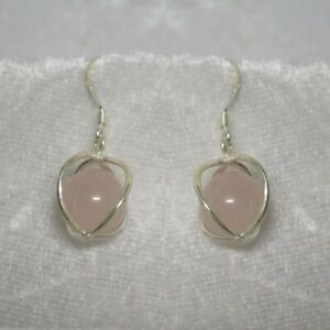 Sterling Silver earrings with Rose Quartz spheres  SS049cq