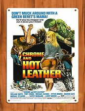 Tin-Ups Tin Sign Chrome And Hot Leather Vintage Movie Art Poster