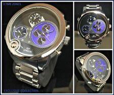 Mens Large Oversized 3 Time Zones Round Silver DESIGNER Fashion Wrist Watch 55mm