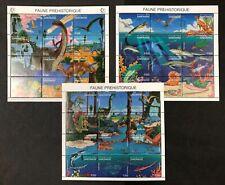 Gabon #800-802 3 Sheets of 12 Prehistoric Wildlife 1995 MNH