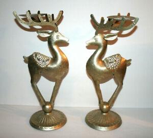"""Set of 2 PIER 1 Metal Reindeer CandleHolders Gold Tone Rhinestones Christmas 15"""""""