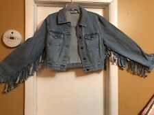 Rare Women's Vintage1980s  Jean Jacket with  Fringes Hanging off Arms SZ M New