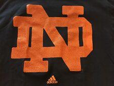 Notre Dame ND basketball T-Shirt  Adidas Navy Blue Men's L
