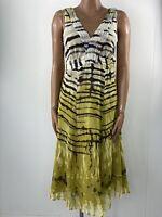PER UNA M&S Floaty Chiffon Bright Chartreuse Green Zebra Summer Dress 14