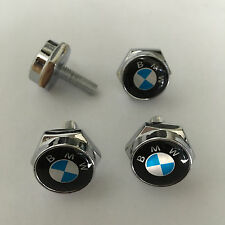 4 pcs Car License Plate Frame Fastener Screw Caps Bolt Covers For BMW Blue