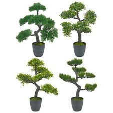 Decorative Artificial Plastic Realistic Desk Faux Bonsai Tree Potted Plant Pot