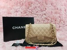 2010 CHANEL 2.55 Light Beige Clair Caviar Double Flap Jumbo Bag GOLD HW