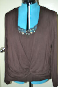 TOP WITH Half Cami features sequin and bead neckline - Size 18