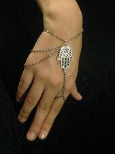 Bracelet Hand Hamsa Hand Silver Boho Ethnic Gypsy Tribal Bohemian B1022