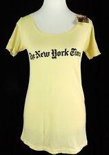 Altru Women's T-Shirt NY Times New York Light Fabric Yellow Retro Vintage Medium