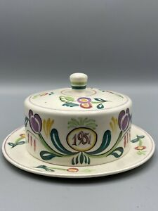 POOLE POTTERY 1951 CORONATION CHEESE DISH AND COVER