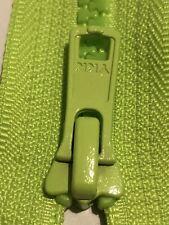 FLUORESCENT GREEN HIGH VISIBLE YKK ZIPPER 36 INCH 91CM PLASTIC MOLDED OPEN END