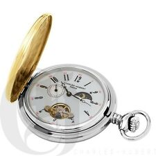 Charles Hubert Stainless Steel Two-Tone Mechanical Pocket Watch 3553-T