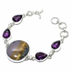 """Dendrite Opal, Amethyst Gemstone Ethnic Jewelry Bracelet 7-8"""" BRJ3157"""