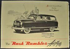 1950 Nash Rambler Airflyte Station Wagon Brochure Folder Excellent Original 50