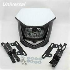 1x White Bike Motorcycle Headlight Kit 12V H4 Bulb Universal Custom w/ Brackets