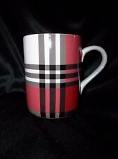 New Pottery Barn IVORY MCKINLEY PLAID COFFEE CUPS/MUGS