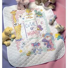 "Baby Hugs Cute...Or What? Quilt Stamped Cross Stitch Kit-34""X43"" NEW"