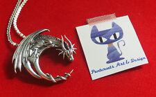 925 Sterling Silber Silber Drache Drachen Kettenanhänger Mond Glücksdrache