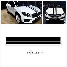 Pair Car Double Line Hood Black Stripes Graphics Decal Sticker 150CM Waterproof