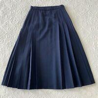 Pendleton Pleated Virgin Wool Midi Skirt Navy Blue 4 Petite