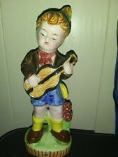 Japan Ceramic Boy With Guitar 7in Approx Very good 356