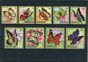 Republic of Burundi Butterfly's stamp set (SG 378-386) dated 1968 UMM