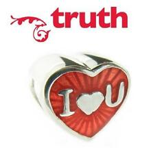 TRUTH PK 925 silver red & Pink Enamel I LOVE YOU heart charm bead, valentines