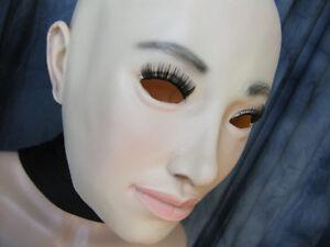 Gummi Maske LILLY +WIMPERN B-Ware Weiblich Frauenmaske XXL Latex Trans Diva Girl