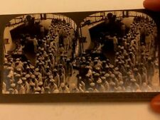 WWI ERA KEYSTONE STEREOVIEW PIC 14250 MARINES AND SAILORS AFTER ASSEMBLY ON SHIP