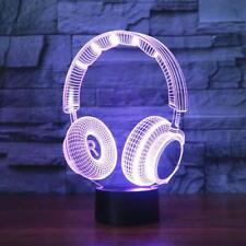 DJ Headphone Shape 3D Light Lamp Home Decor Lighting Illusion