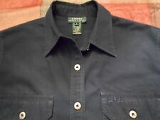 LAUREN RALPH LAUREN NAVY SHIRT/OVERSHIRT WITH LOGO LONG/ROLL SLEEVES SIZE L
