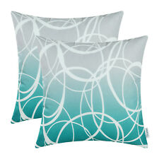 Pack of 2 Teal Throw Pillows Covers Cases Gradient Ombre Circles Decor 45 x 45cm