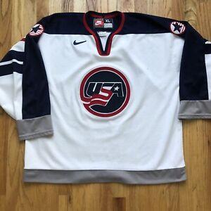 Men's Vintage 90's Nike Team USA 1998 Olympic Ice Hockey White Blue Jersey Sz XL