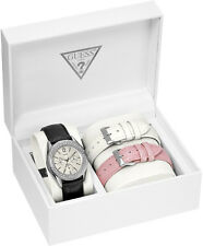 New Authentic GUESS Pink, White, Black Leather Straps Boxed Set Watch U12624L1